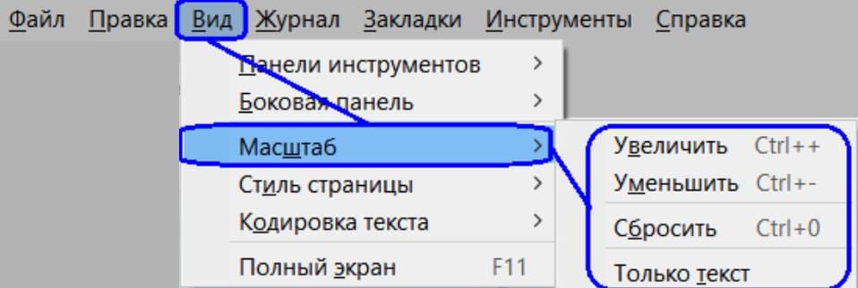 Увеличение шрифта в браузере Mozilla Firefox