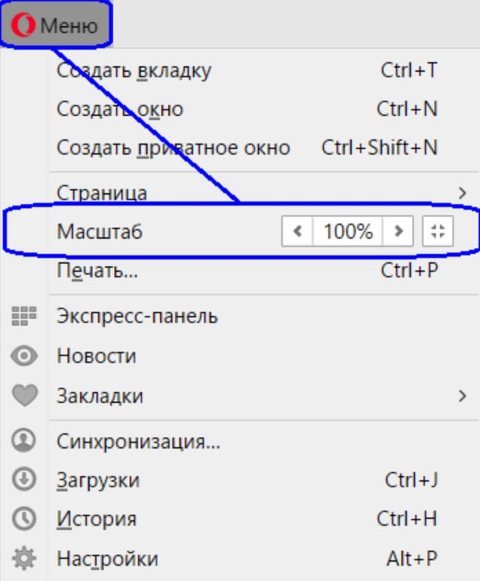 Увеличение шрифта в браузере Opera